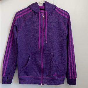 Purple barely worn adidas zip up hooded jacket